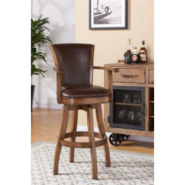 "Raleigh Arm 26"" Counter Height Swivel Wood Barstool in Chestnut Finish and Kahlua Pu"
