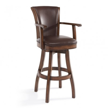 "Armen Living Raleigh Arm 30"" Bar Height Swivel Wood Barstool in Chestnut Finish and Kahlua Pu"