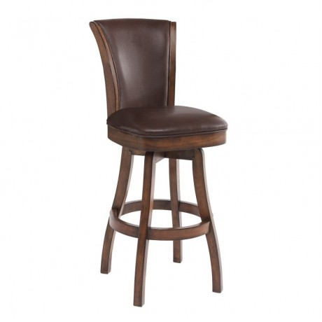 "Armen Living Raleigh 26"" Bar Height Swivel Wood Barstool in Chestnut Finish and Kahlua Pu"