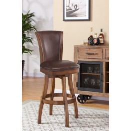 "Raleigh 26"" Bar Height Swivel Wood Barstool in Chestnut Finish and Kahlua Pu"