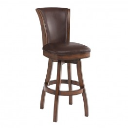 "Armen Living Raleigh 30"" Bar Height Swivel Wood Barstool in Chestnut Finish and Kahlua Pu"