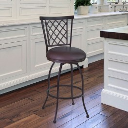 "Armen Living Reno 30"" Barstool in Auburn Bay finish with Brown Pu upholstery"