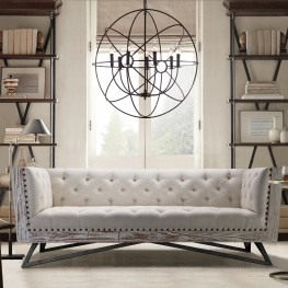 Regis Cream Sofa With Pine Frame And Gunmetal Legs