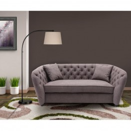 Armen Living Rhianna Transitional Loveseat in Brown Tufted with Wood legs