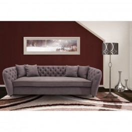 Armen Living Rhianna Transitional Sofa in Brown Tufted with Wood legs