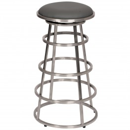 "Ringo 26"" Backless Brushed Stainless Steel Barstool in Gray Pu"