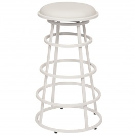"Ringo 26"" Backless White Metal Barstool in White Pu"