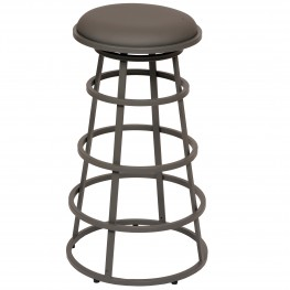 "Ringo 30"" Backless Gray Metal Barstool in Gray Pu"