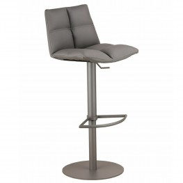 Roma Adjustable Gray Metal Barstool in Gray Pu