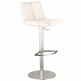 Roma Adjustable Brushed Stainless Steel Barstool in White Pu