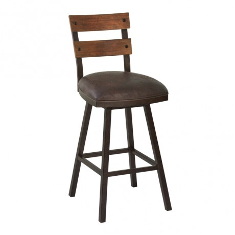 "Armen Living Saugus 30"" Bar Height Metal Swivel Barstool in Bandero Espresso Fabric and Auburn Bay Finish with Walnut Wood Back"