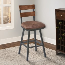 "Armen Living Saugus 26"" Counter Height Metal Swivel Barstool in Bandero Tobacco Fabric and Mineral Finish with Walnut Wood Back"