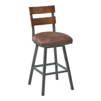 "Armen Living Saugus 30"" Bar Height Metal Swivel Barstool in Bandero Tobacco Fabric and Mineral Finish with Walnut Wood Back"