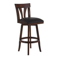 """Armen Living Salem 26"""" Counter Height Swivel Wood Barstool in Pecan Finish and Brown Pu"""