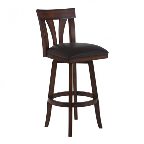 "Armen Living Salem 30"" Bar Height Swivel Wood Barstool in Pecan Finish and Brown Pu"