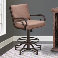 """Armen Living San Diego 26"""" Counter Height Metal Swivel Barstool in Auburn Bay and Brown Fabric"""