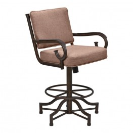 "Armen Living San Diego 30"" Bar Height Metal Swivel Barstool in Auburn Bay and Brown Fabric"