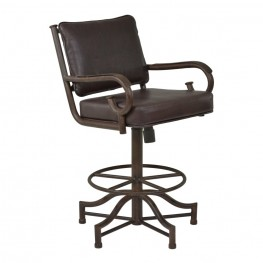 "Armen Living San Diego 30"" Bar Height Metal Swivel Barstool in Auburn Bay and Ford Brown Pu"