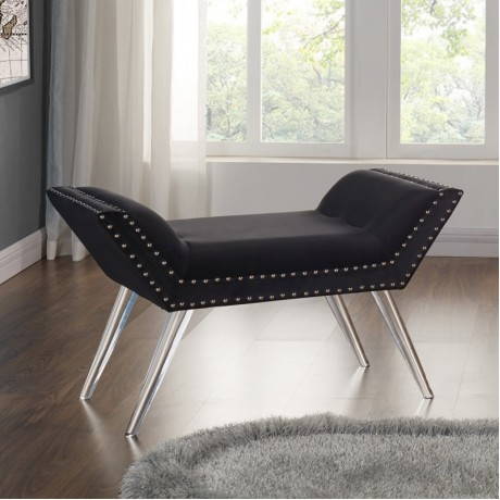 Armen Living Silas Ottoman Bench in Black Tufted Velvet with Nailhead Trim and Acrylic Legs