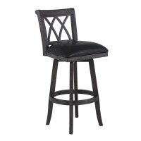 """Armen Living Sonoma 26"""" Counter Height Swivel Wood Barstool in Wire Brushed Black Finish and Black Pu"""