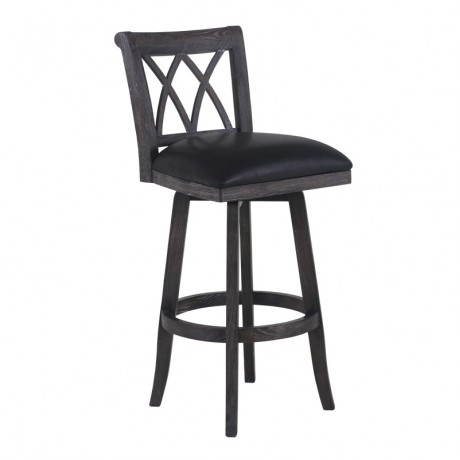"Armen Living Sonoma 26"" Counter Height Swivel Wood Barstool in Wire Brushed Black Finish and Black Pu"