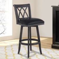 """Armen Living Sonoma 30"""" Bar Height Swivel Wood Barstool in Wire Brushed Black Finish and Black Pu"""