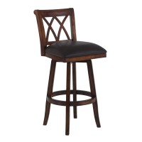 """Armen Living Sonoma 26"""" Counter Height Swivel Wood Barstool in Pecan Finish and Brown Pu"""