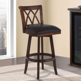 "Armen Living Sonoma 30"" Bar Height Swivel Wood Barstool in Pecan Finish and Brown Pu"