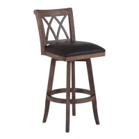 """Armen Living Sonoma 26"""" Counter Height Swivel Wood Barstool in Wire Brushed Brown Finish and Brown Pu"""
