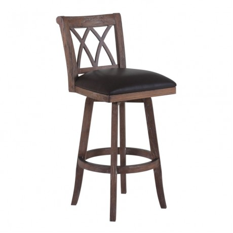 "Armen Living Sonoma 26"" Counter Height Swivel Wood Barstool in Wire Brushed Brown Finish and Brown Pu"