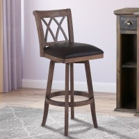 """Armen Living Sonoma 30"""" Bar Height Swivel Wood Barstool in Wire Brushed Brown Finish and Brown Pu"""