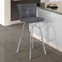 "Armen Living Spago 26"" Counter Height Metal Barstool in Vintage Gray Faux Leather with Brushed Stainless Steel Finish"
