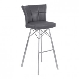 "Armen Living Spago 30"" Bar Height Metal Barstool in Vintage Gray Faux Leather with Brushed Stainless Steel Finish"