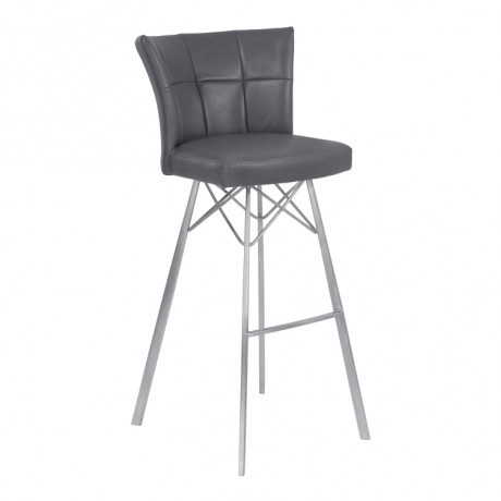 "Spago 30"" Bar Height Metal Barstool in Vintage Gray Faux Leather with Brushed Stainless Steel Finish"