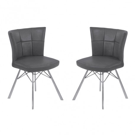 Spago Contemporary Dining Chair in Vintage Gray Faux Leather with Brushed Stainless Steel Finish - Set of 2