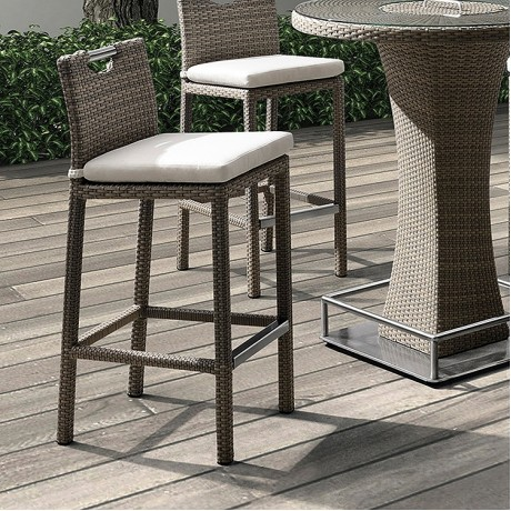 Armen Living Stewart Outdoor Brown Rattan Patio Barstool with Cream Fabric Cushion