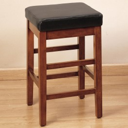 "Sonata 26"" Stationary Barstool in Brown Bonded Leather"