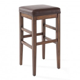 "Armen Living Sonata 26"" Counter Height Wood Backless Barstool in Chestnut Finish and Kahlua Pu"
