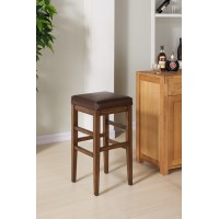 "Armen Living Sonata 30"" Bar Height Wood Backless Barstool in Chestnut Finish and Kahlua Pu"