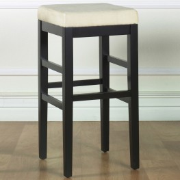 "Sonata 30"" Stationary Barstool in Beige Microfiber with Black Legs"