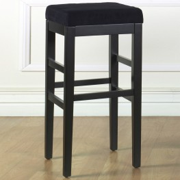 "Sonata 26"" Stationary Barstool in Black Microfiber with Black Legs"
