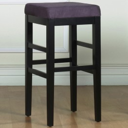 "Sonata 30"" Stationary Barstool in Eggplant Microfiber with Black Legs"