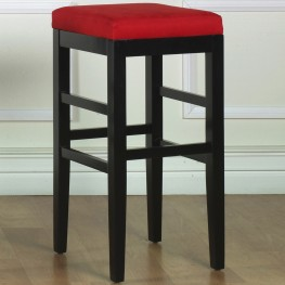 "Sonata 26"" Stationary Barstool in Red Microfiber with Black Legs"