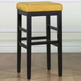 "Sonata 26"" Stationary Barstool in Yellow Microfiber with Black Legs"