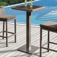 Armen Living Stewart Outdoor Brown Rattan Patio Pub Table with Teak Wood Top and Aluminum Base
