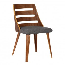 Storm Mid-Century Dining Chair in Walnut Wood and Charcoal Fabric