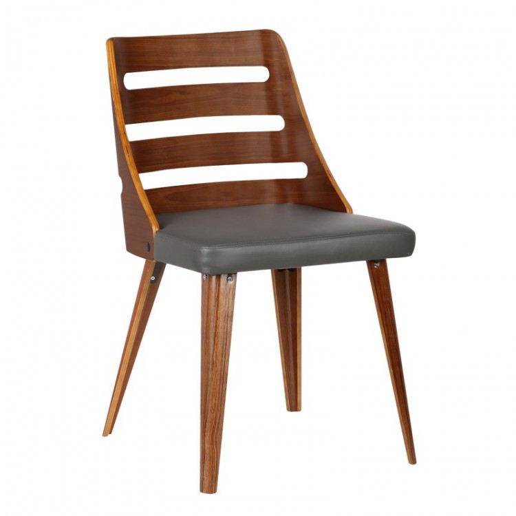 armen living storm midcentury dining chair in walnut wood and gray pu