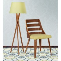Armen Living Storm Mid-Century Dining Chair in Walnut Wood and Green Fabric