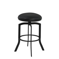 """Armen Living Studio 26"""" Counter Height Metal Swivel Barstool in Ford Black Pu and Black Finish"""