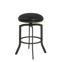 """Armen Living Studio 30"""" Bar Height Metal Swivel Barstool in Ford Black Pu and Mineral Finish"""